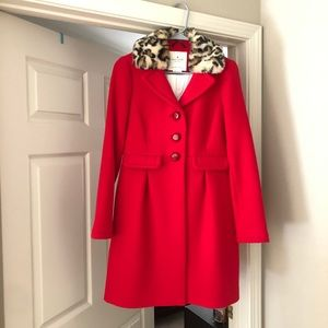Kate Spade Red Wool coat with Leopard collar